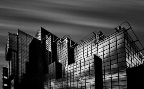 antonyz long exposure architecture modern office building mirrored black and white