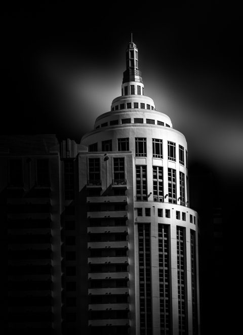 antonyz long exposure architecture black and white loews hotel miami south beach florida
