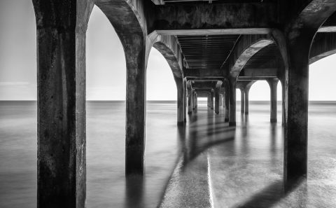 antonyz long exposure architecture under pier jetty walkway black and white