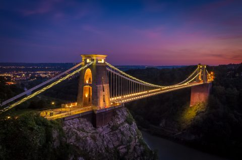 antonyz long exposure landscape clifton suspension bridge bristol night sunset lights