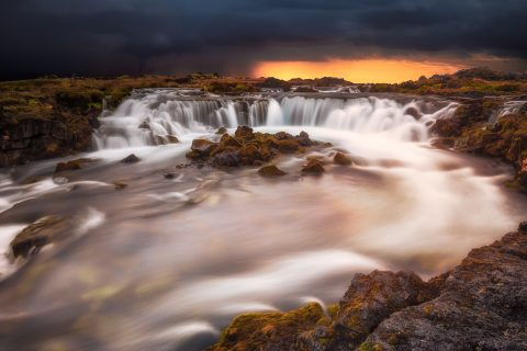 antonyz long exposure landscape iceland waterfall reykjavik sunset water flow river
