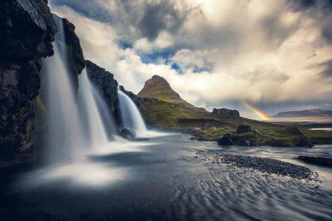antonyz long exposure landscape iceland reykjavik water kirkufell mountain rainbow waterfall