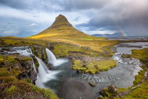 antonyz long exposure landscape iceland reykjavik water kirkufell mountain rainbow waterfall
