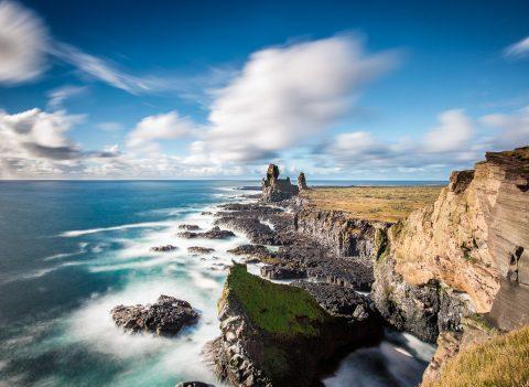 antonyz long exposure landscape iceland reykjavik water ocean rocks coast beach nature