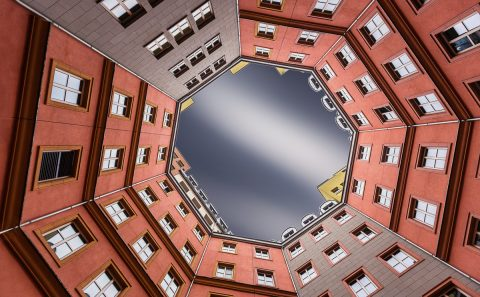 antonyz long exposure architecture octagonal berlin courtyard building