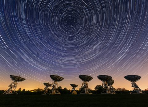 star trails radio satellite dishes landscape england