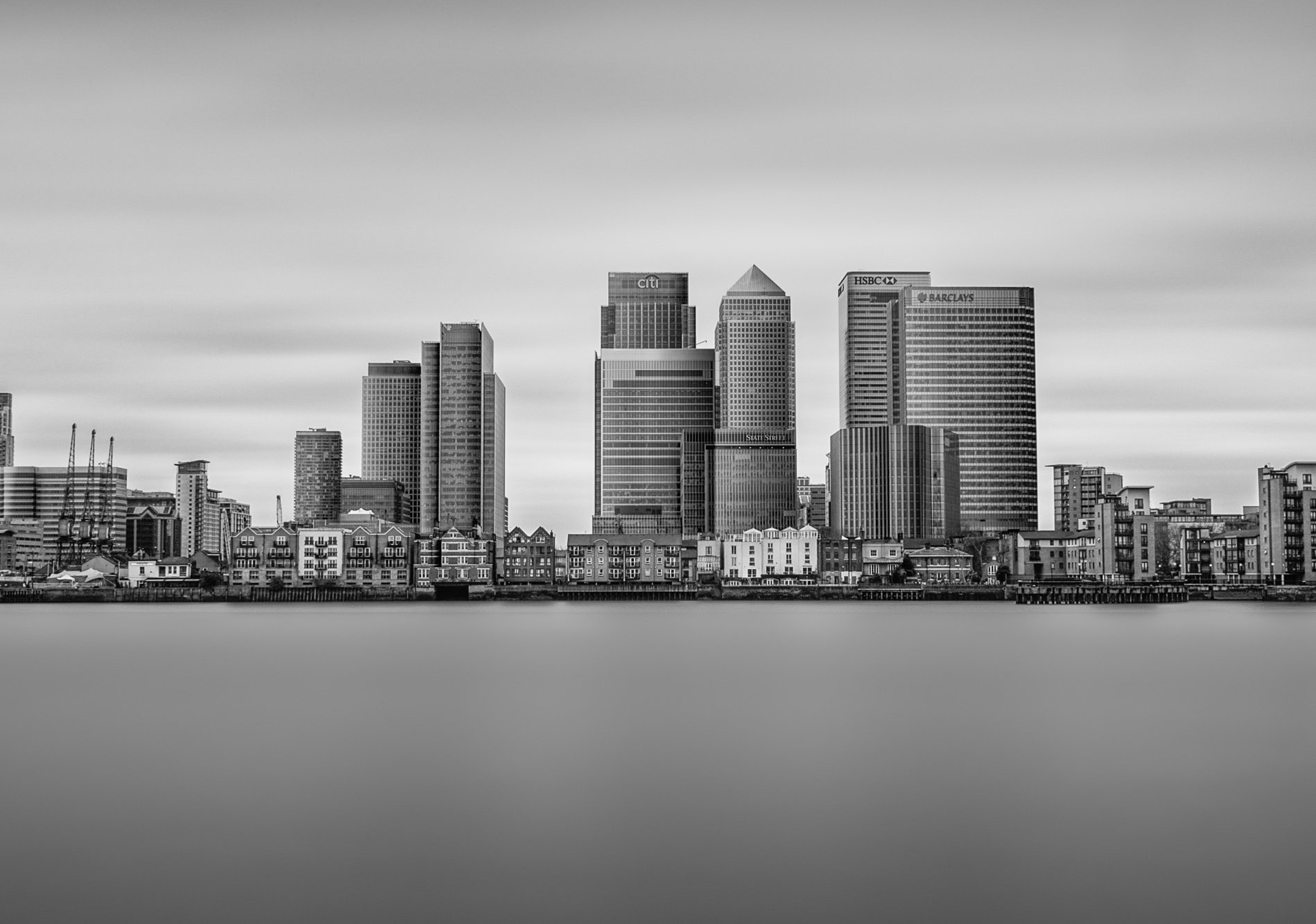 long exposure photograph of architecture and buildings of Canary Wharf and London Docklands