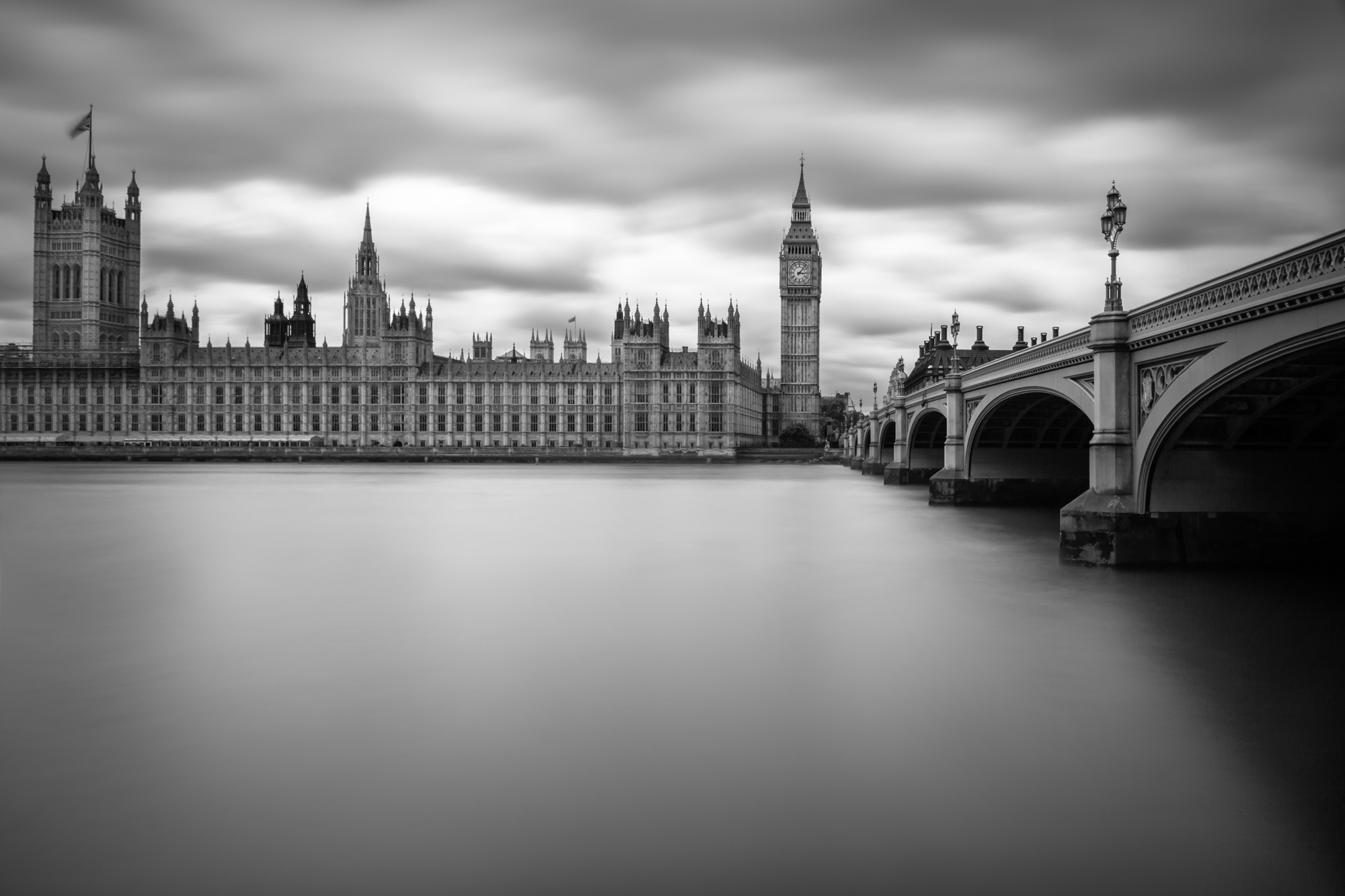 long exposure photograph River Thames view of London's Big Ben and Houses of Parliament