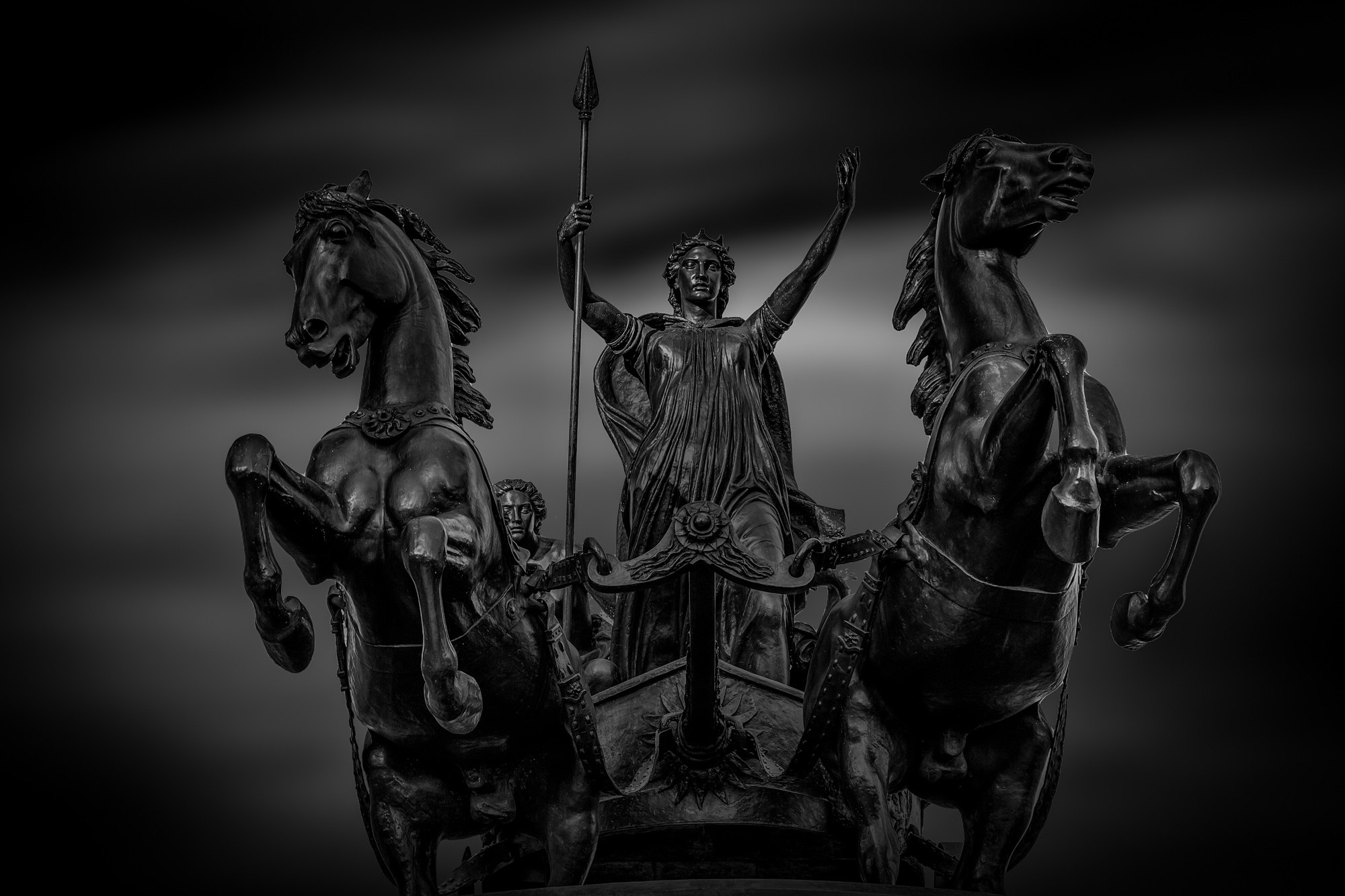 long exposure photograph of Chariot and Bodicea Statue in London