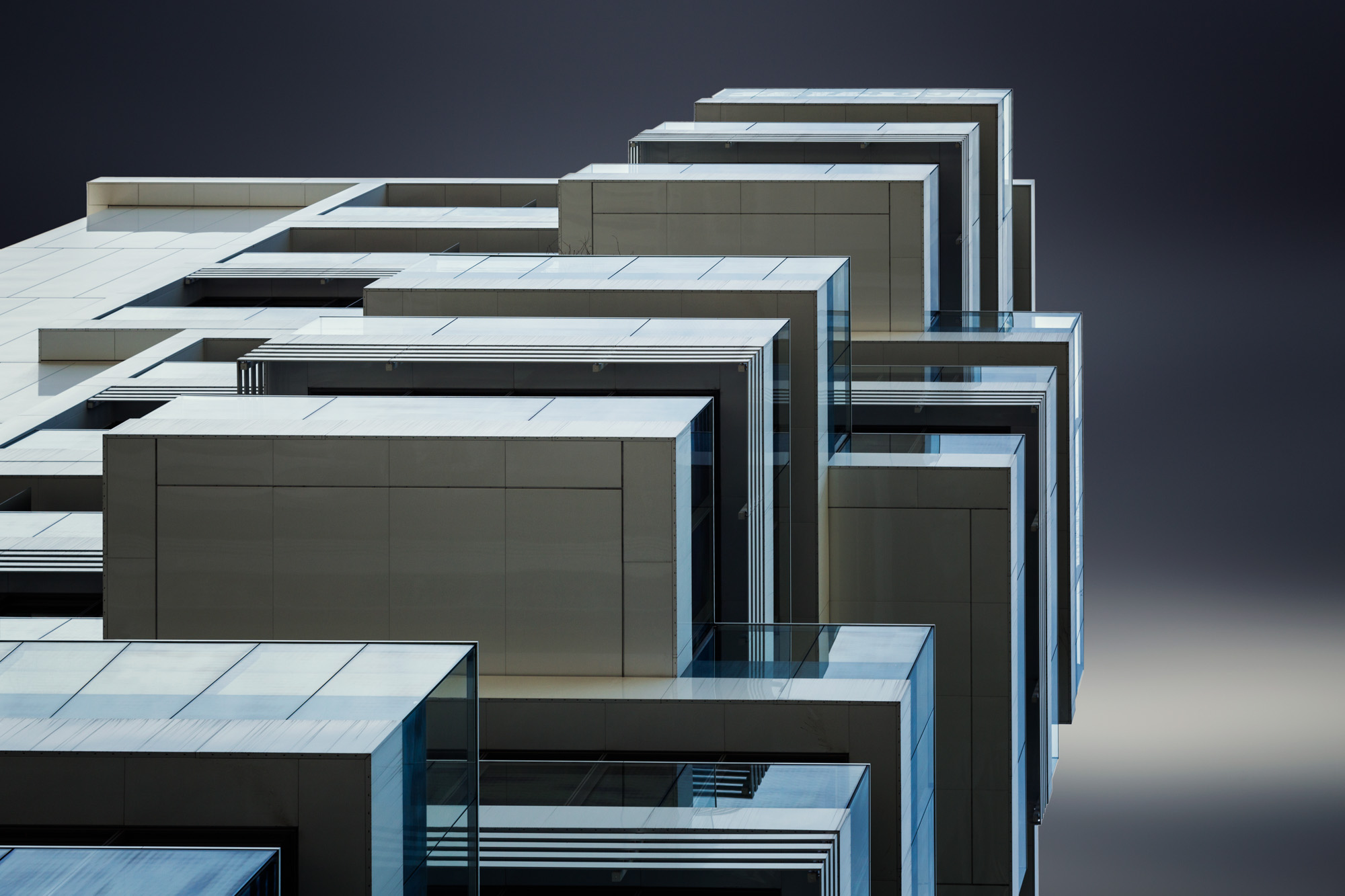 long exposure architecture photograph of cubist design modern architectural building