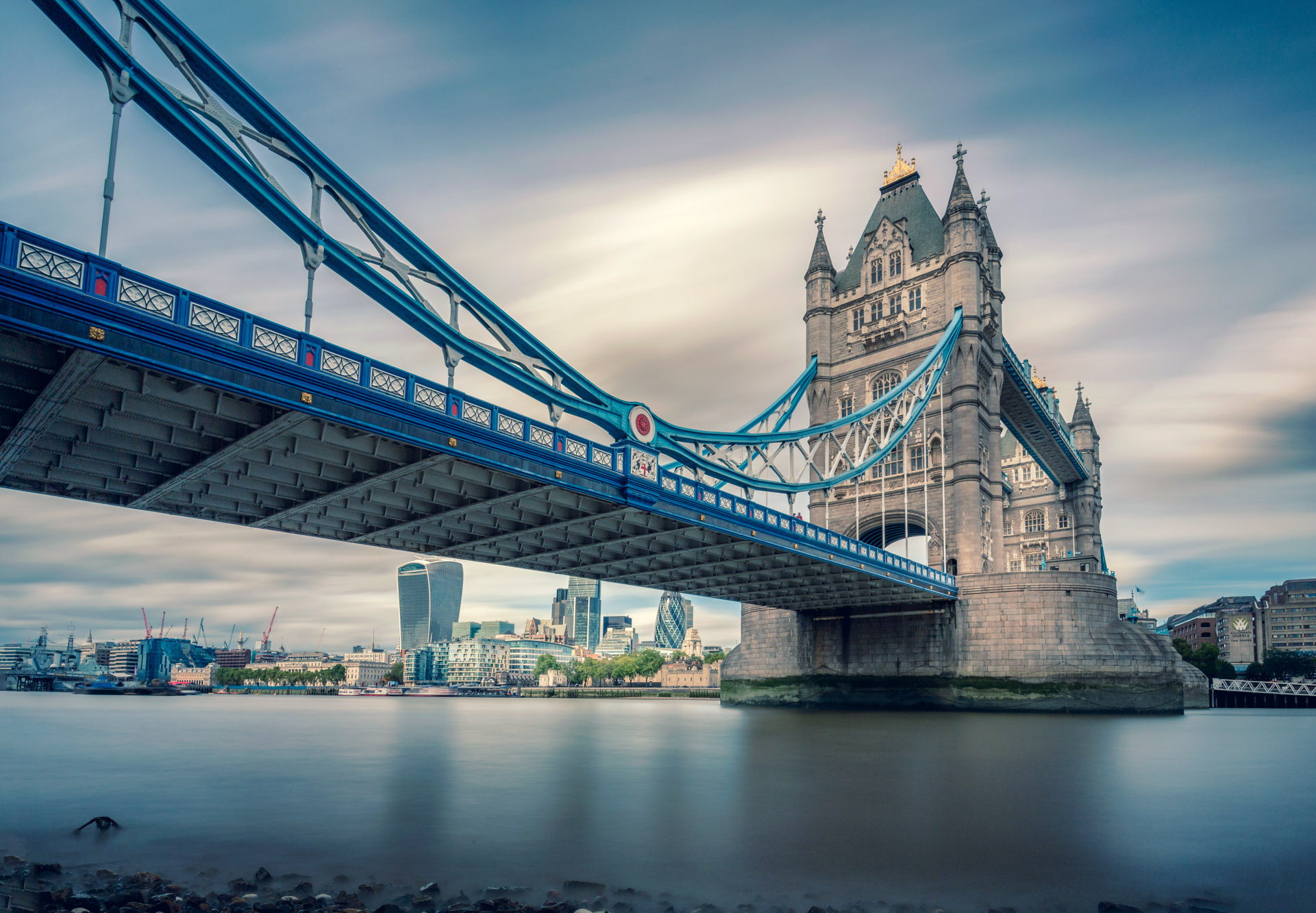 long exposure photograph of Tower Bridge and River Thames in London Uk