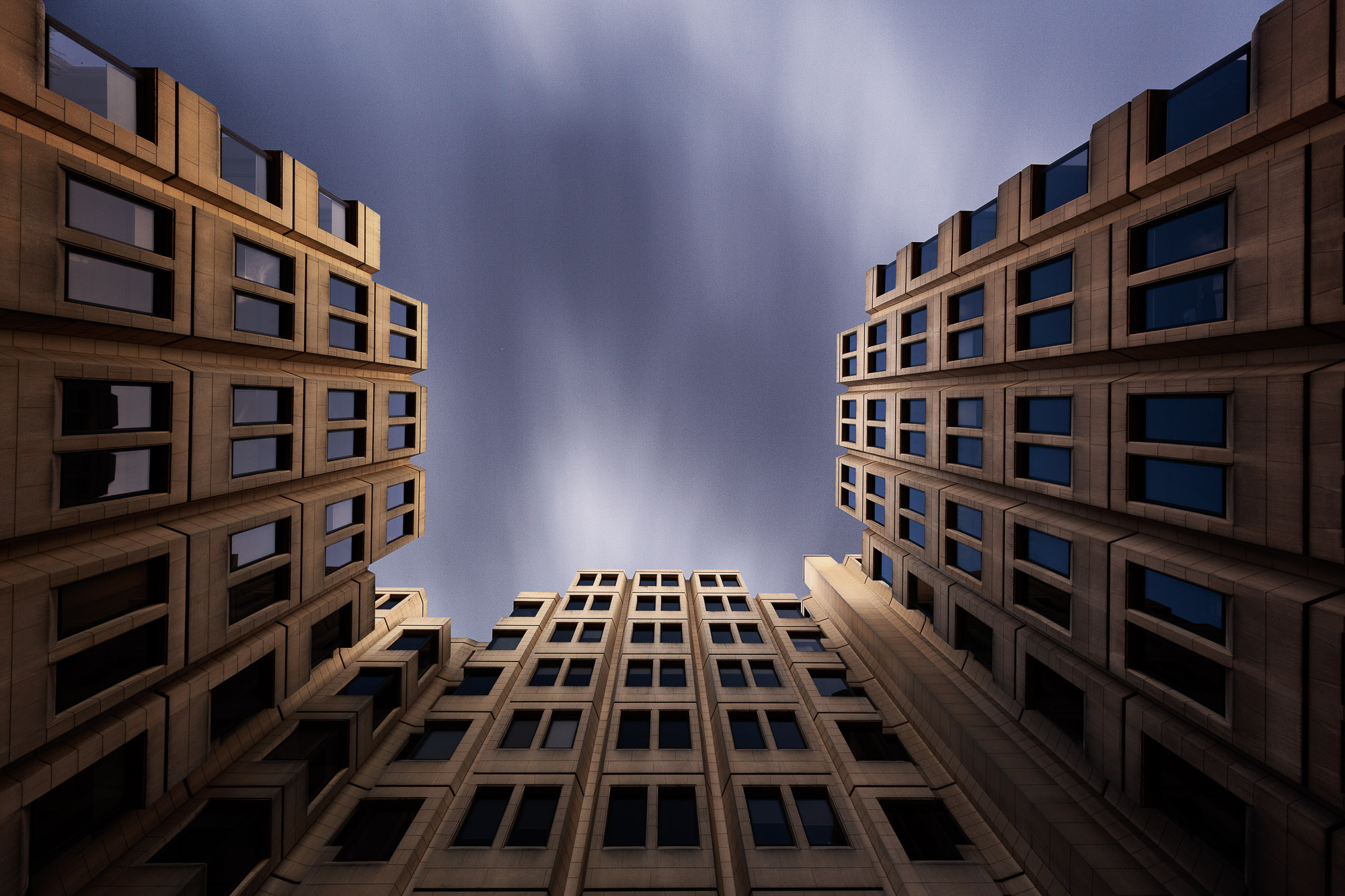 long exposure architecture photograph looking up at St Giles in London