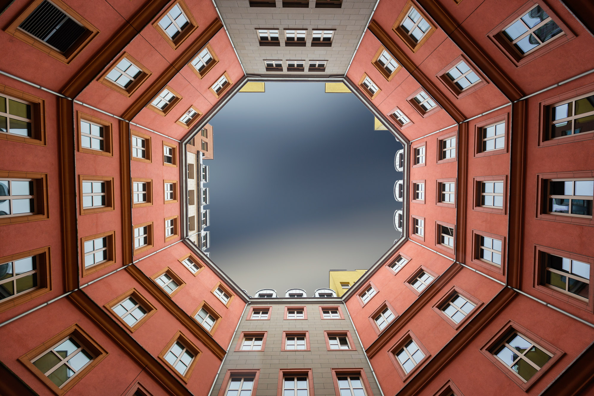 long exposure architecture photograph looking up from courtyard in building in Vienna