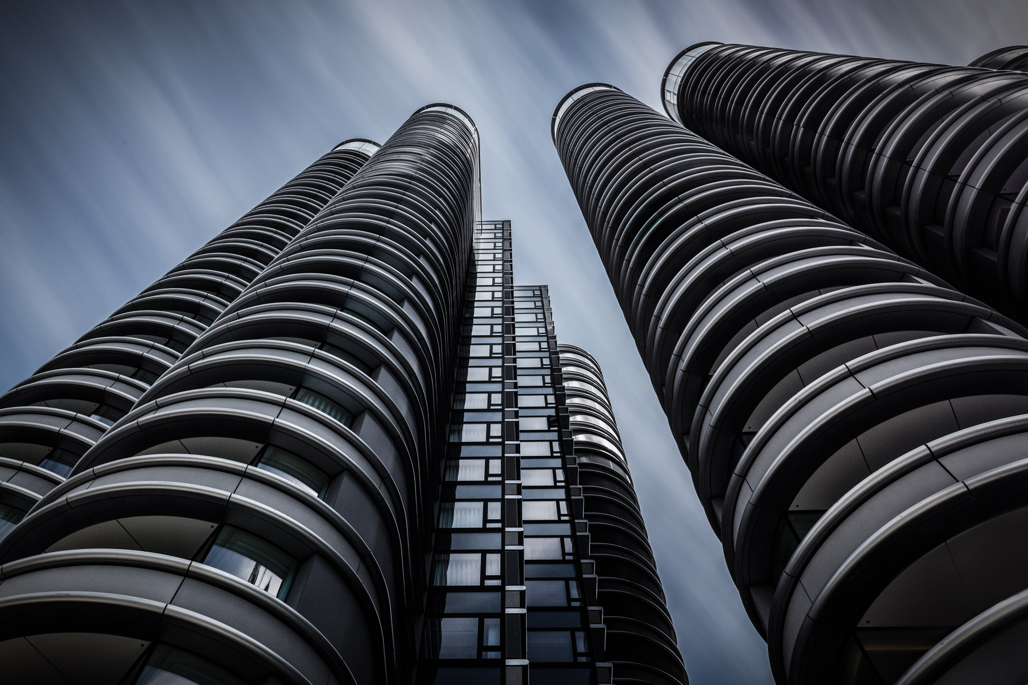 long exposure architecture photograph of modern hotel towers in London UK