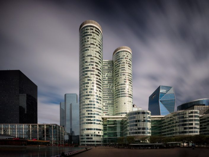 long exposure architecture photograph of La Defense buildings in Paris France
