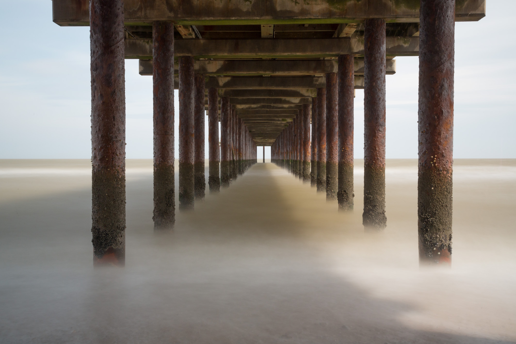 antonyz long exposure architecture photograph under wooden victorian southwold pier in the UK