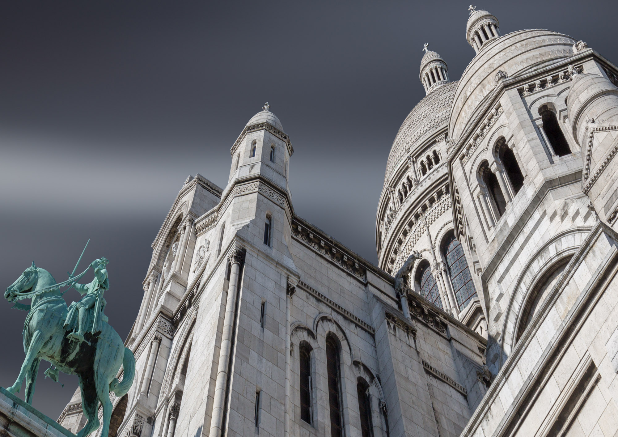 long exposure architecture photograph of Sacre Coeur church in Paris France