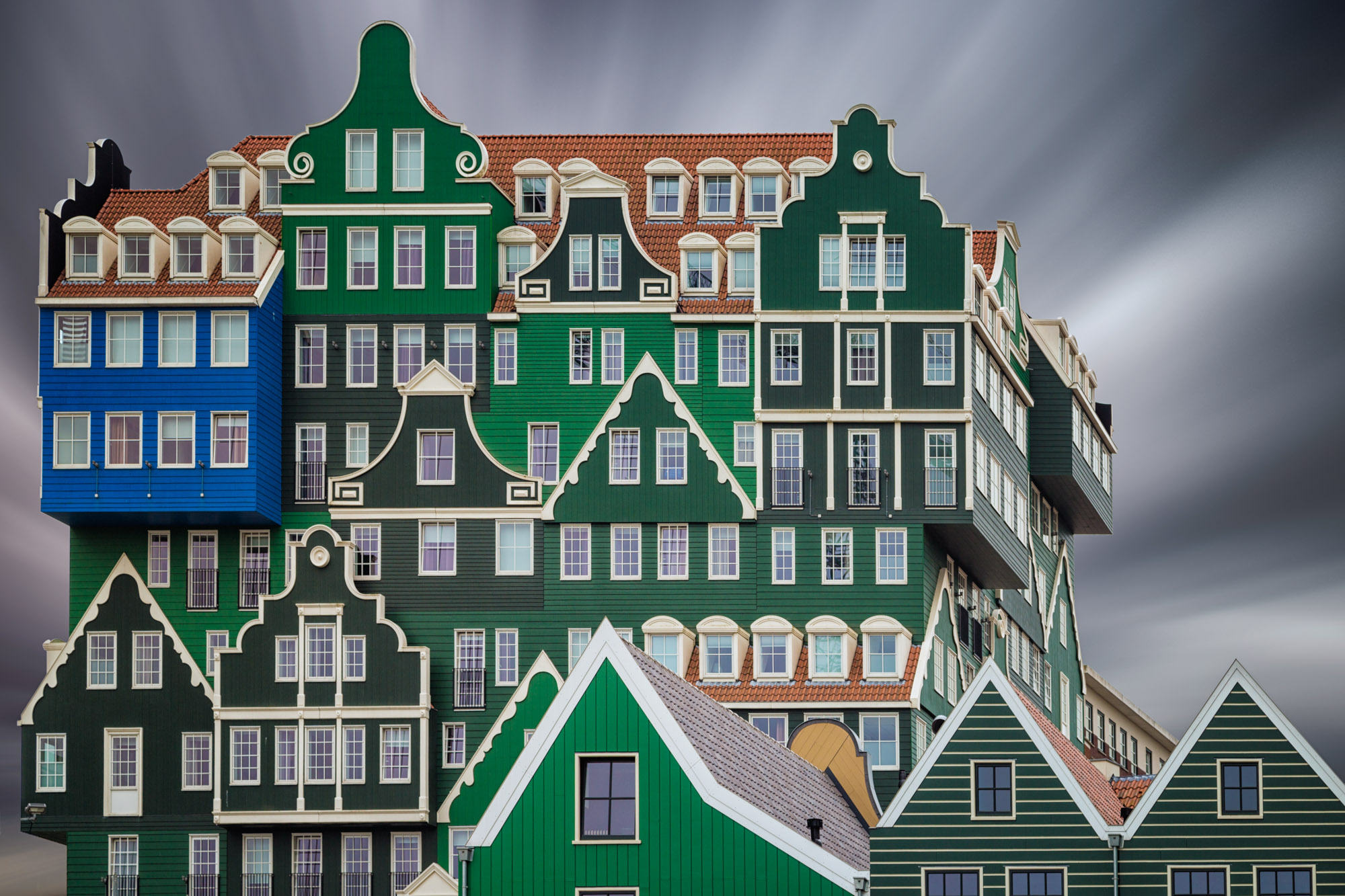 long exposure architecture photograph of traditional Dutch building Inntel hotel in Amsterdam