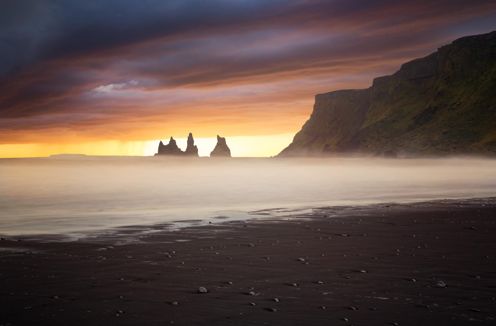 minimal long exposure photograph of a sunset in Reynisfjara Iceland