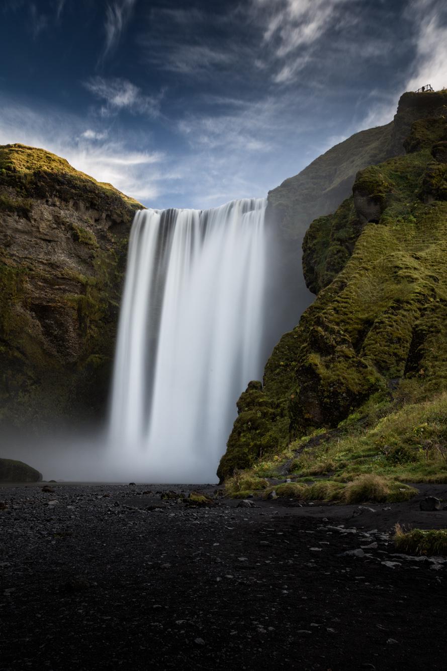 antonyz long exposure landscape photograph of Skogafoss a beautiful waterfall in Iceland