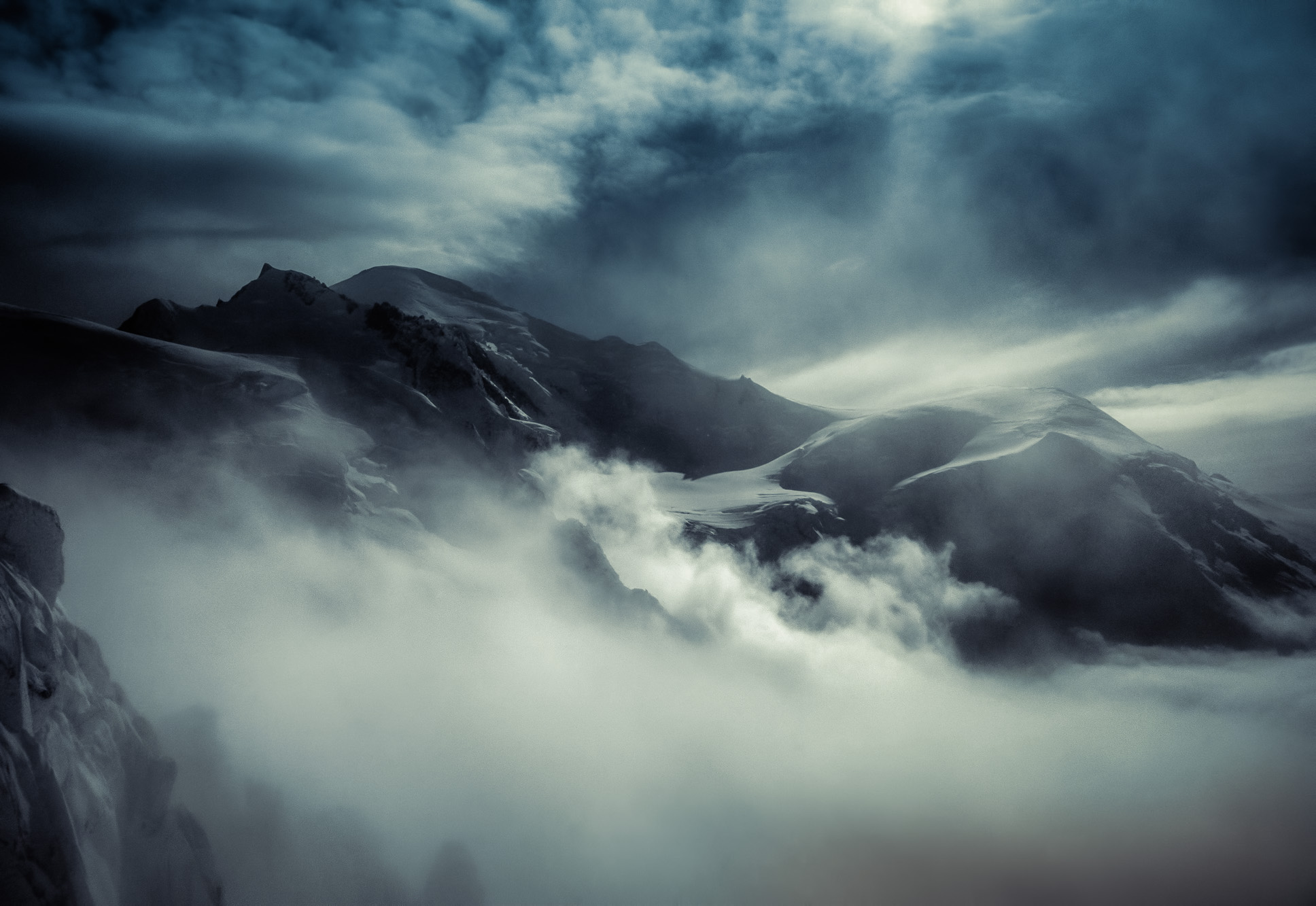 antonyz long exposure landscape photograph of mountains in the french also lit by moonlight