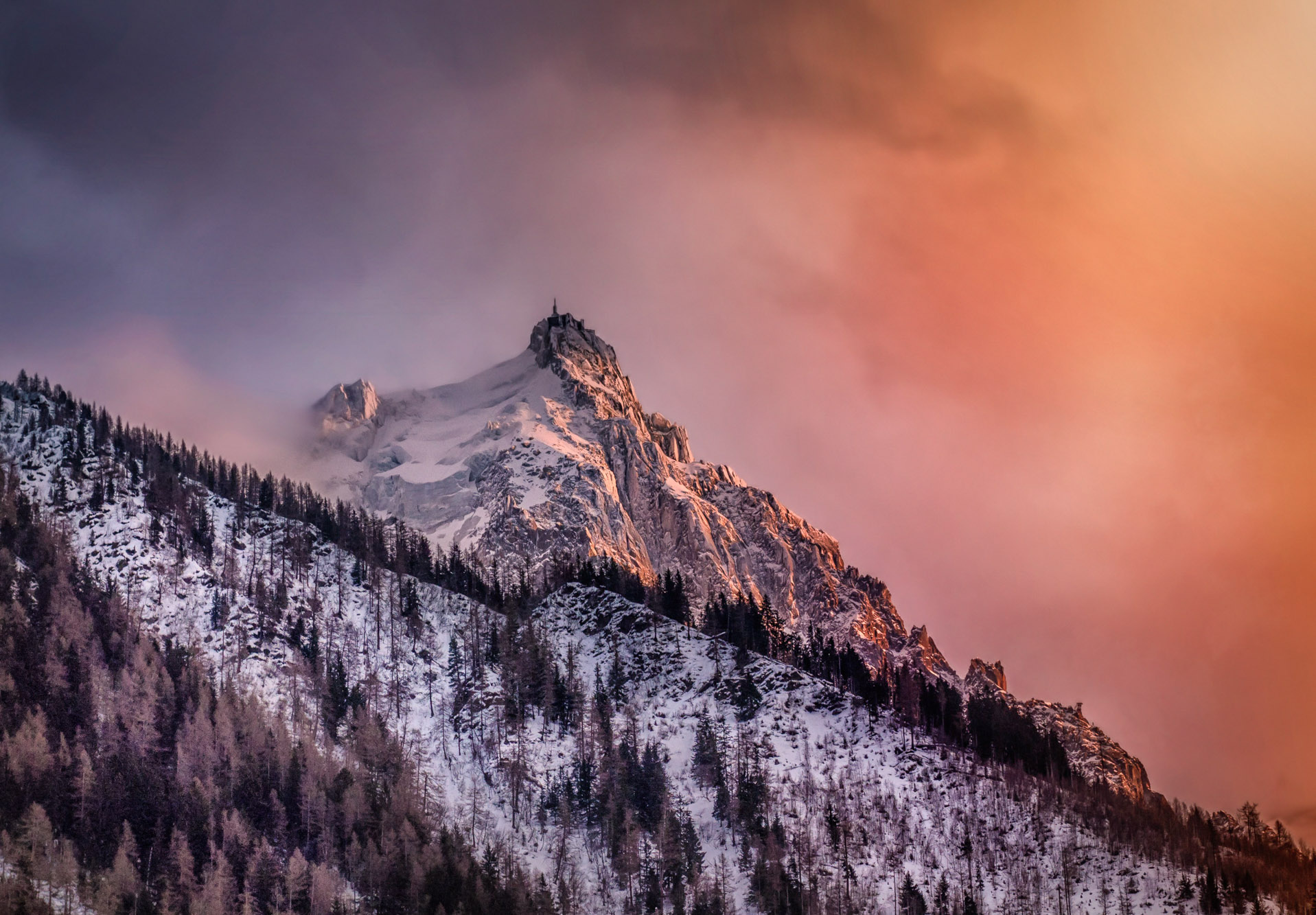 antonyz long exposure landscape photograph of mountains in the Alps at sunset