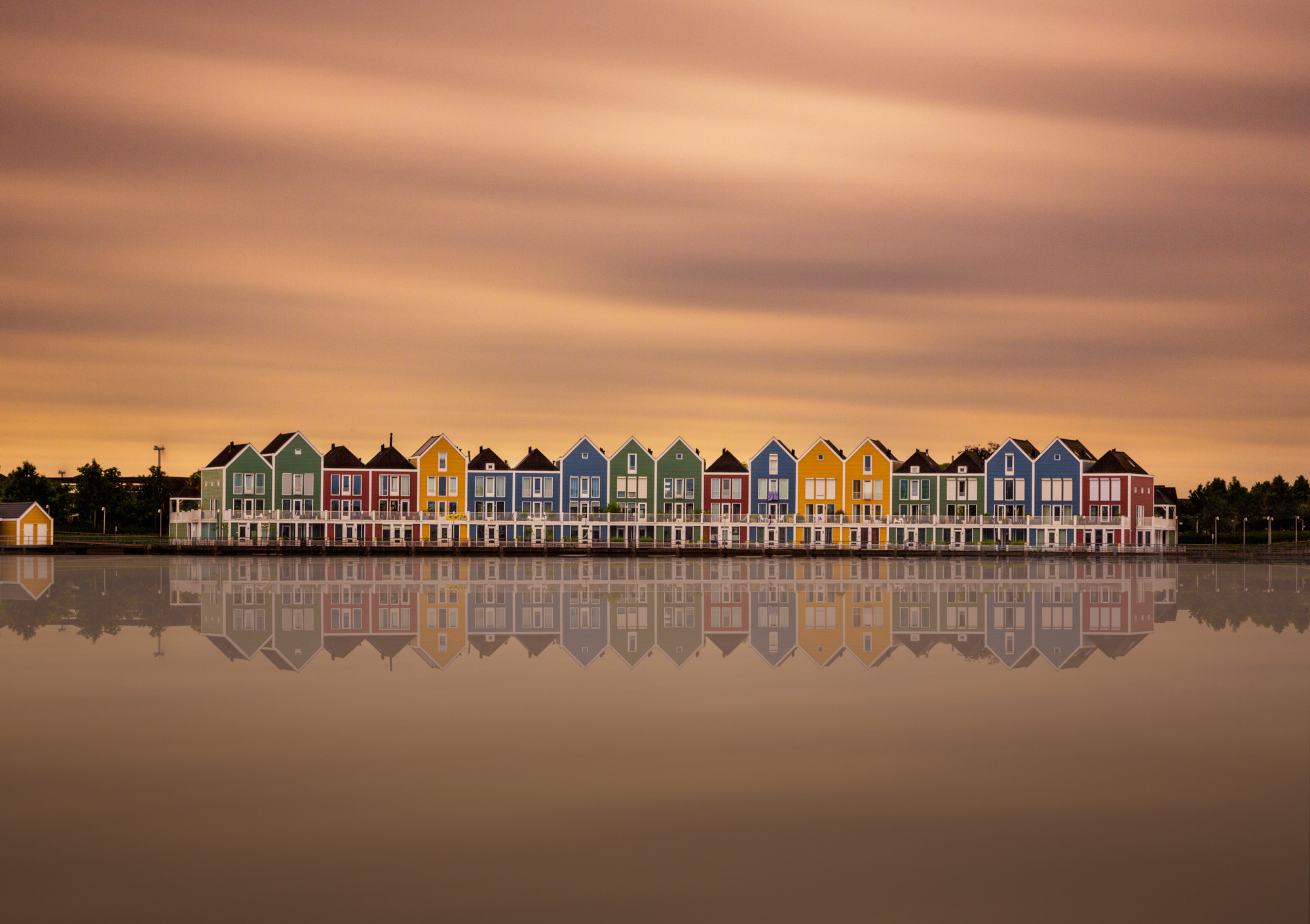 long exposure photograph of the Rainbow Houses in The Netherlands