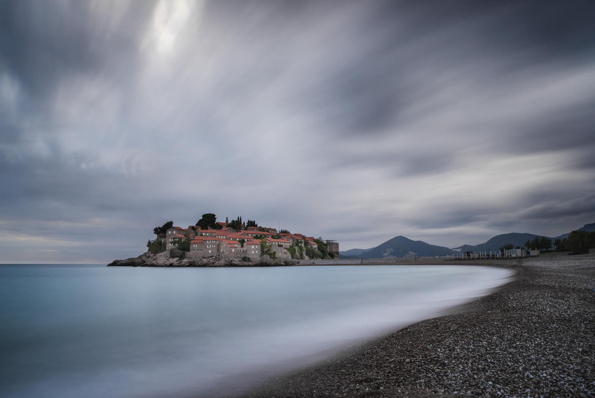 long exposure photograph of Sveti Stefan in Montenegro