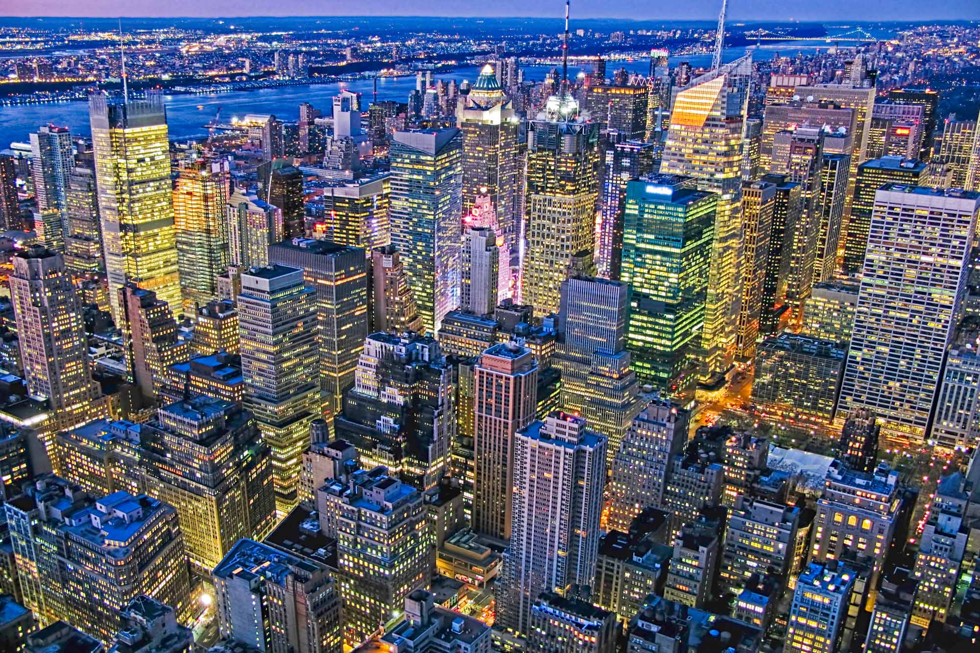 long exposure night photography of Midtown Manhattan New York City viewed from above in USA