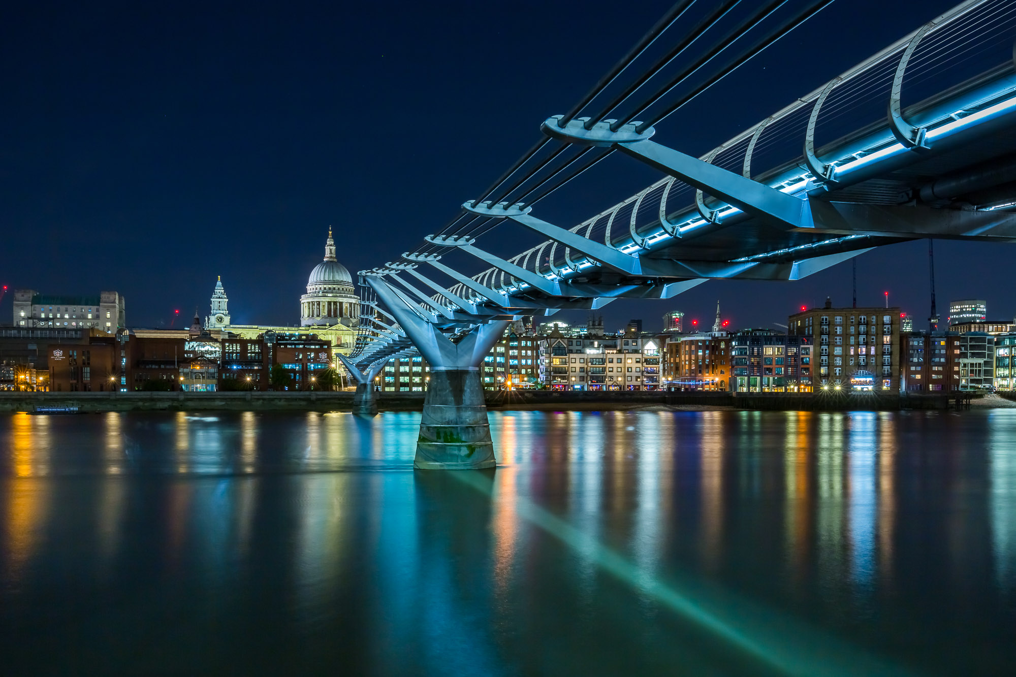 long exposure night photography of the Millennium Bridge and St Pauls Cathedral along the River Thames in London UK