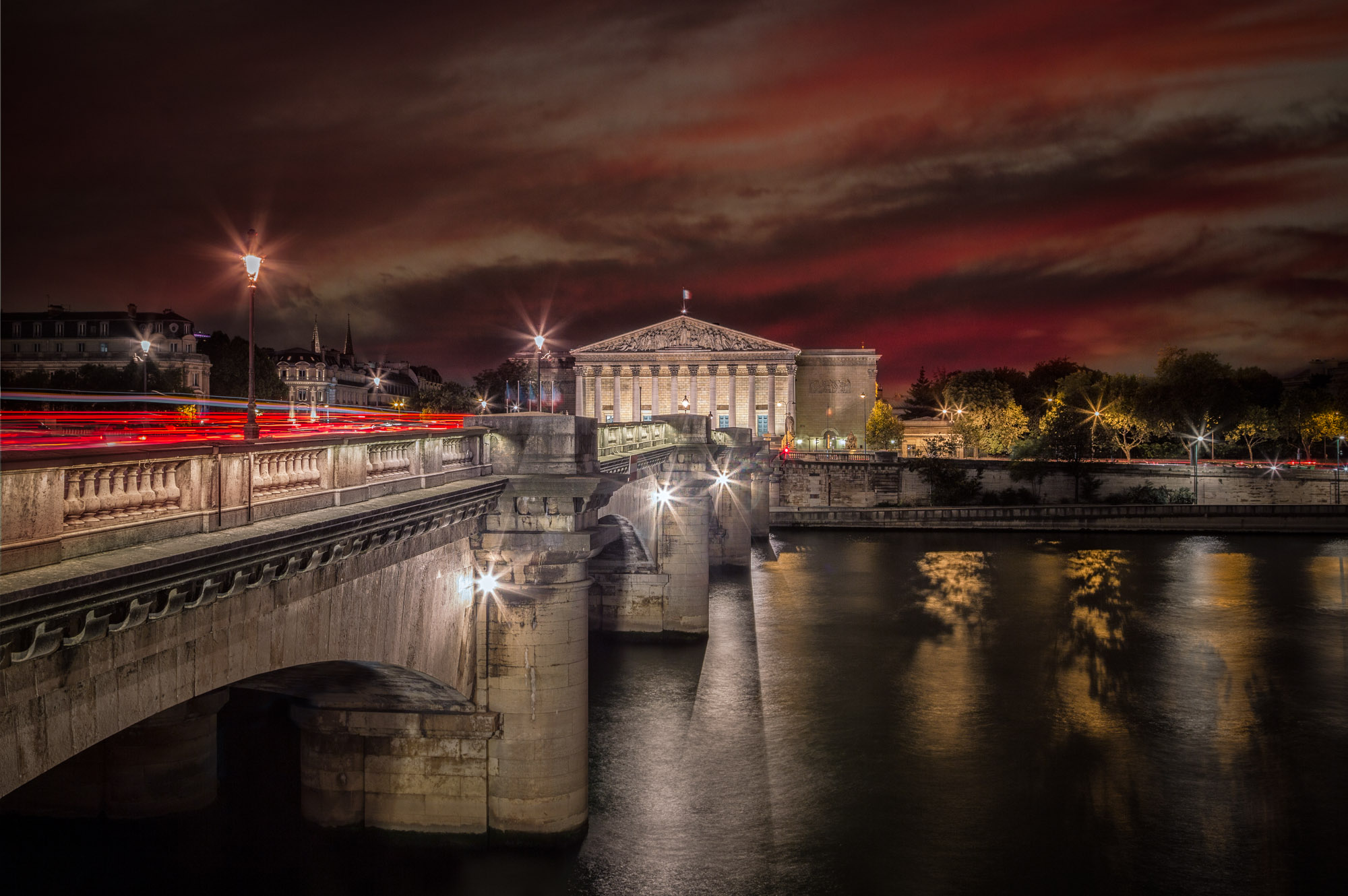 long exposure night photography of the architecture in Paris France viewed from the River Seine at sunset