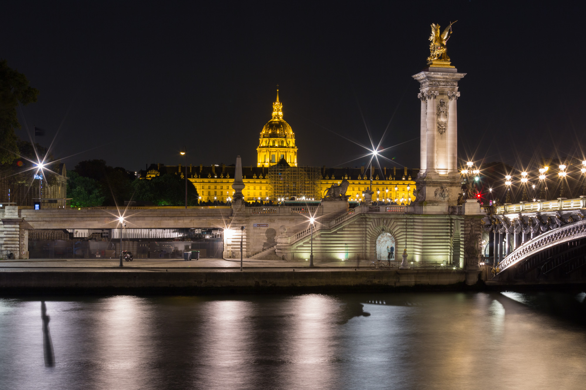 long exposure night photography of the architecture in Paris France viewed from the River Seine