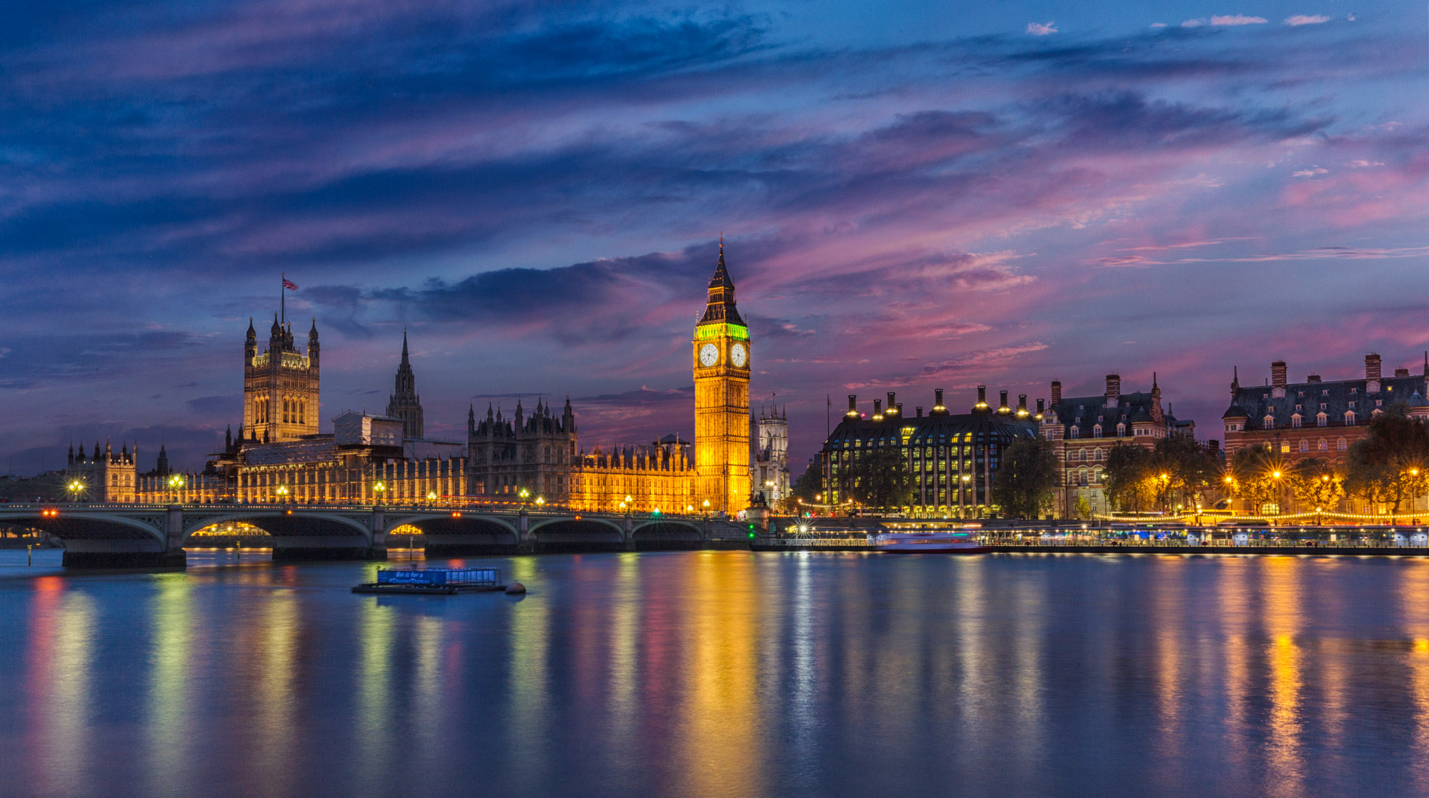 long exposure night photography of Big Ben Eliabeth Clock tower and parliament Westminster Palace in London UK