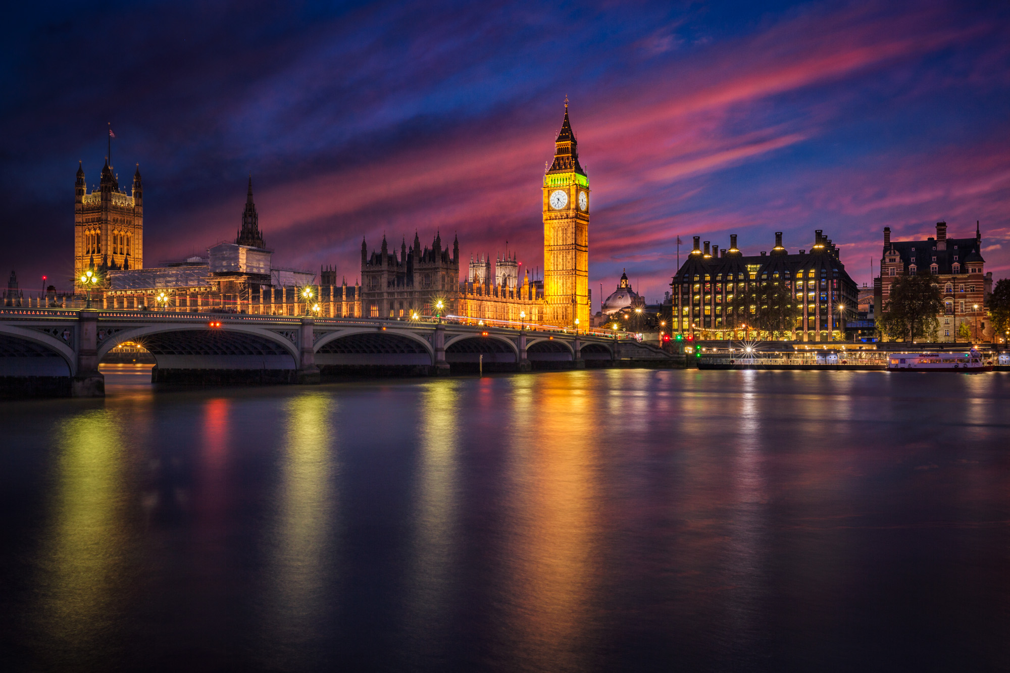 long exposure night photography of Big Ben Eliabeth Clock tower and parliament Westminster Palace in London UK at sunset